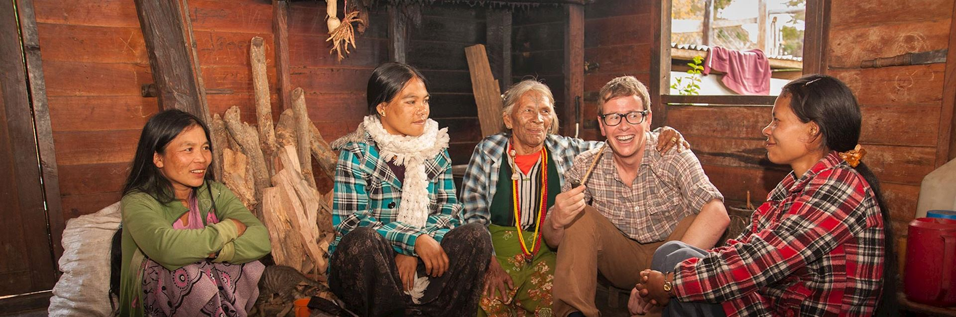 Specialist Mark with members of the Muun tribe in Burma