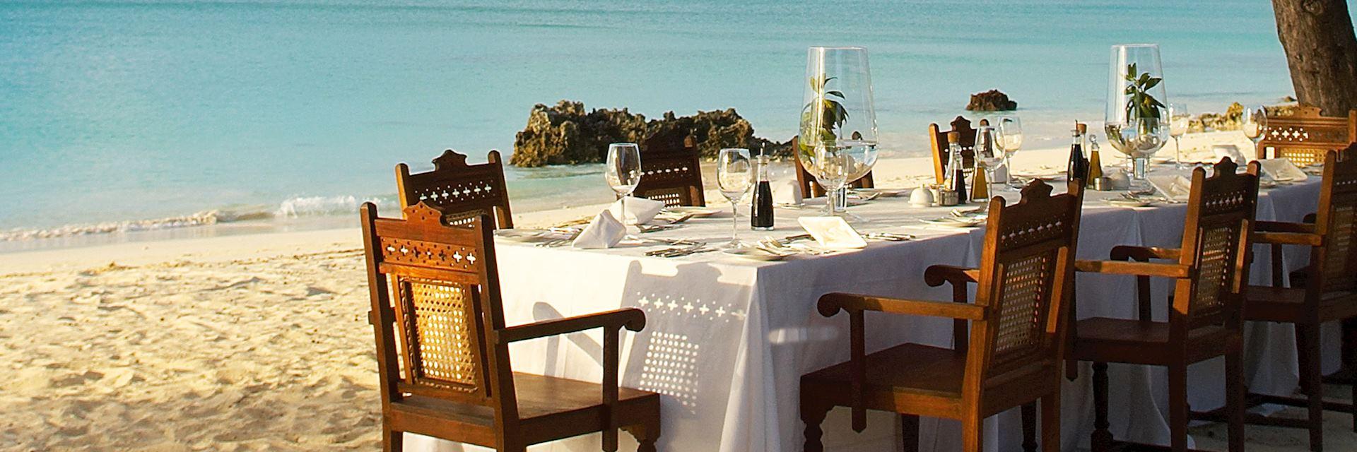 Dining on the beach at Vamizi Island, Quirimba Archipelago