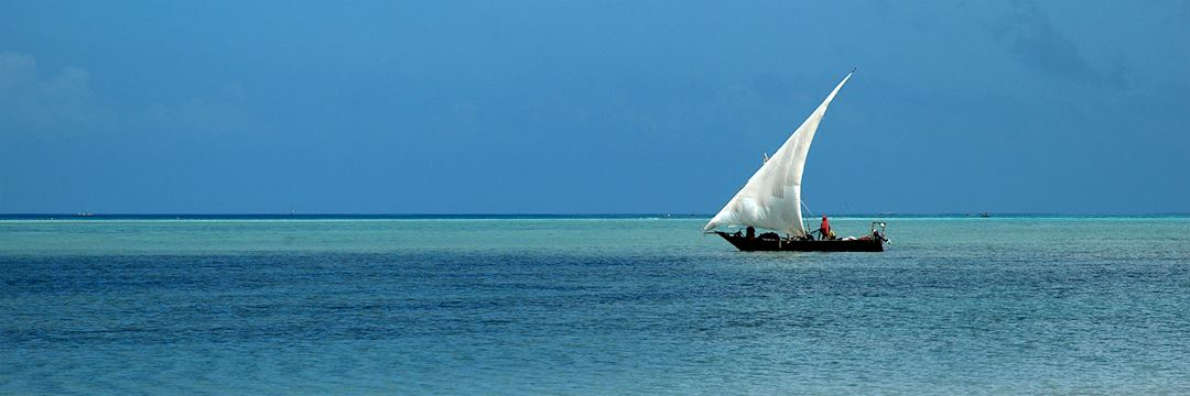 Dhow boat sailing on the Indian Ocean