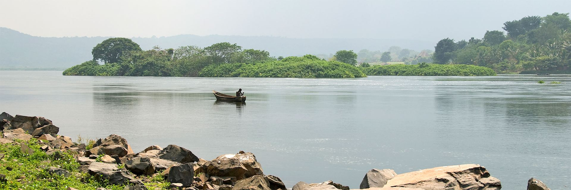 Fishing on a lake near Jinja