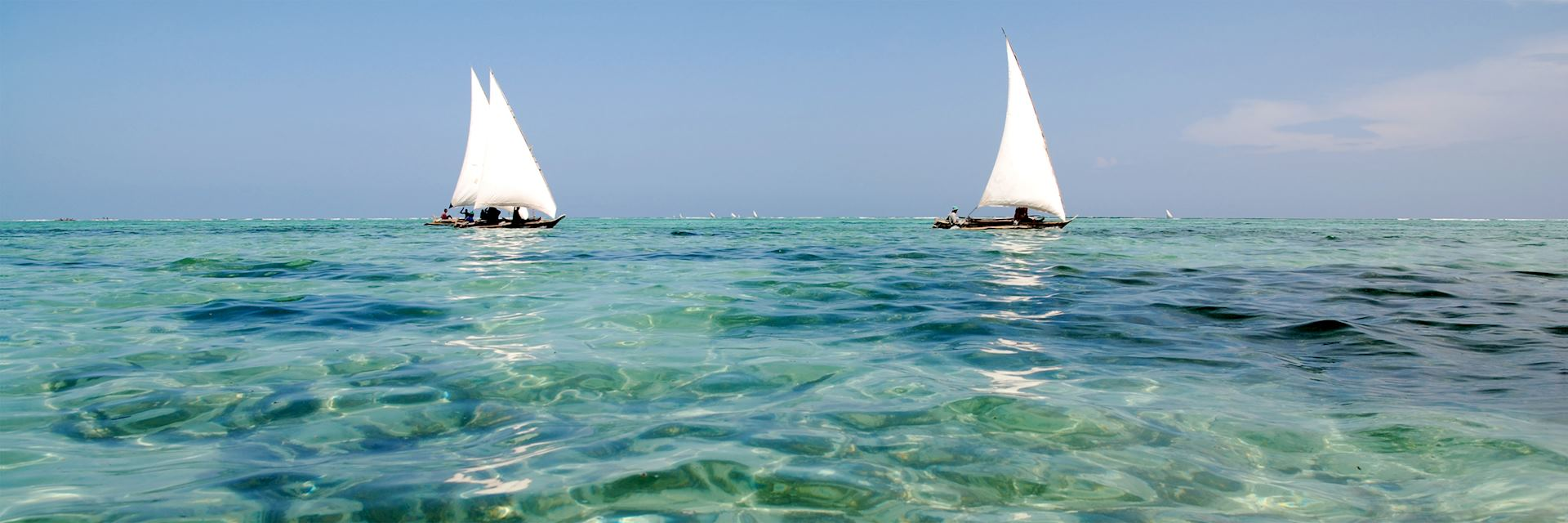 Traditional dhows off the coast of Zanzibar