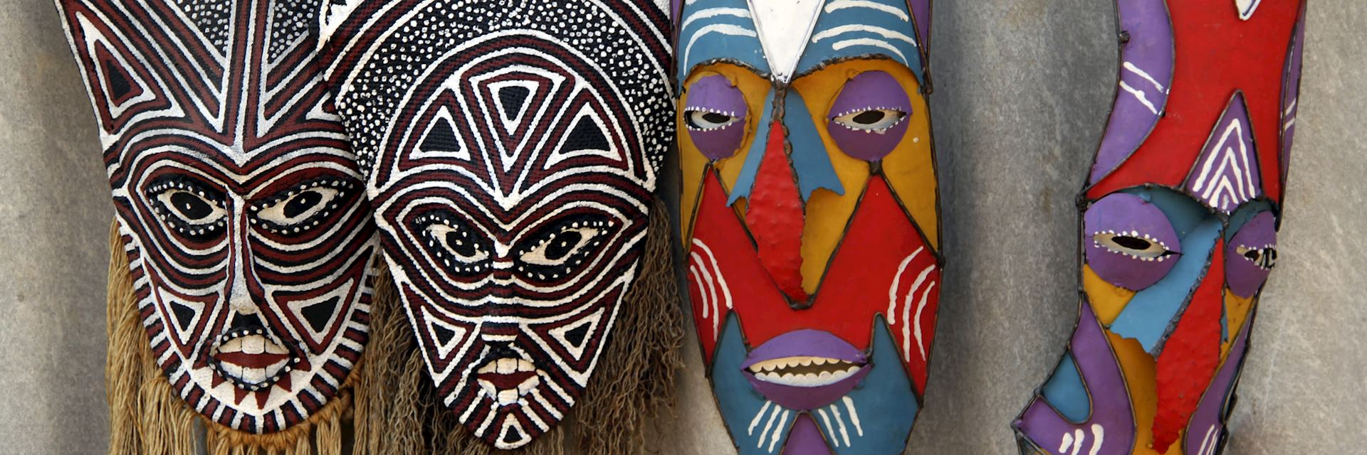 Tribal masks in a zimbabwean market
