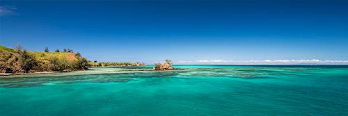 White sand beach and clear sea, Fiji
