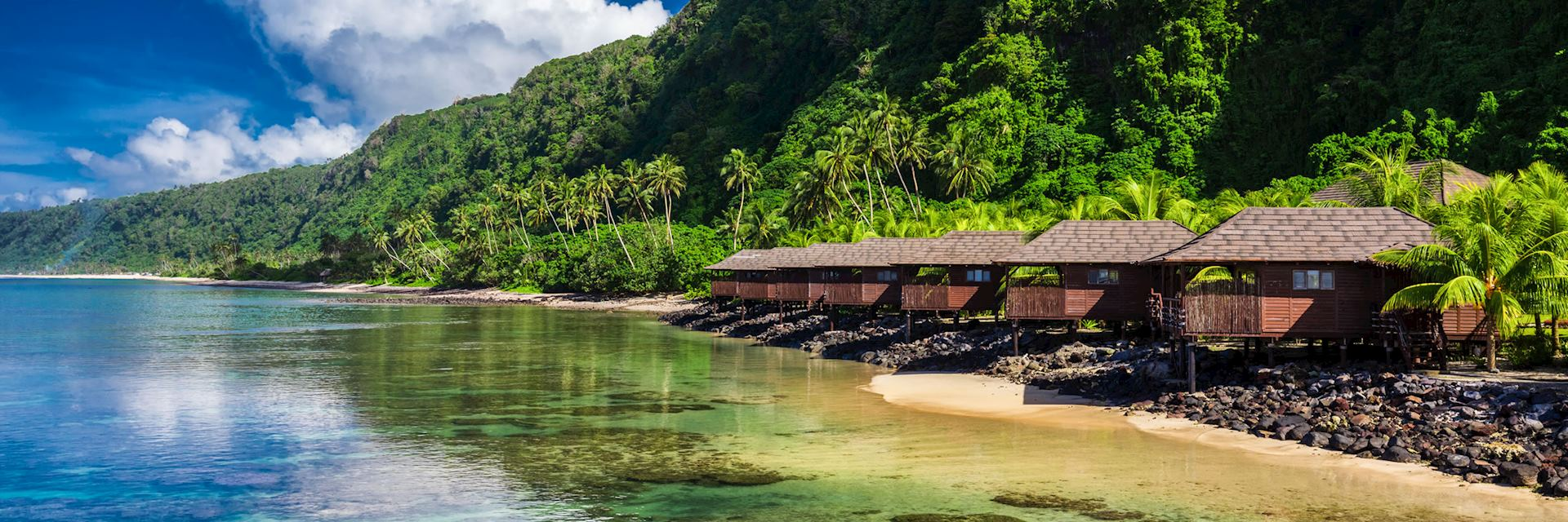 Beach houses on Upolu, Samoa