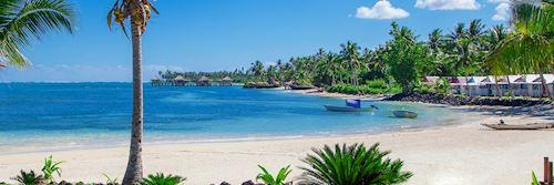 White sand beach and clear sea, Samoa