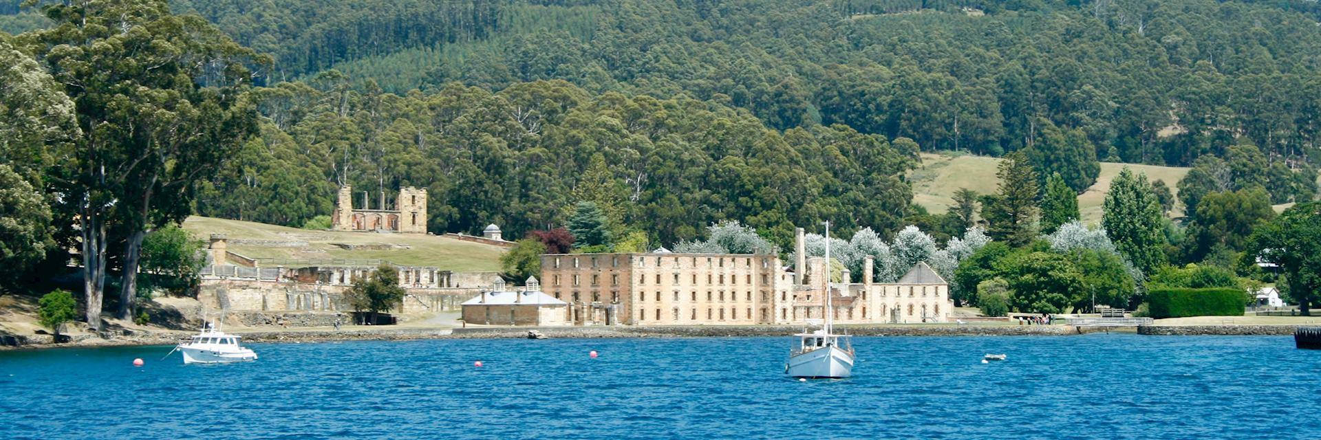 Historic prison and ruins in Port Arthur, Tasmania, Australia