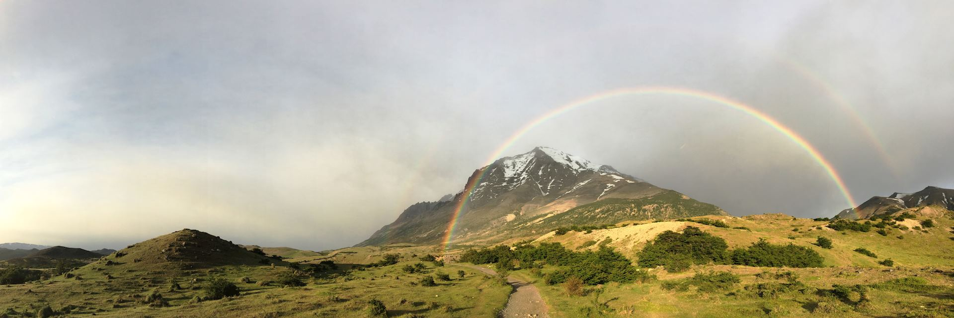 Rainbow in mountains in Chile