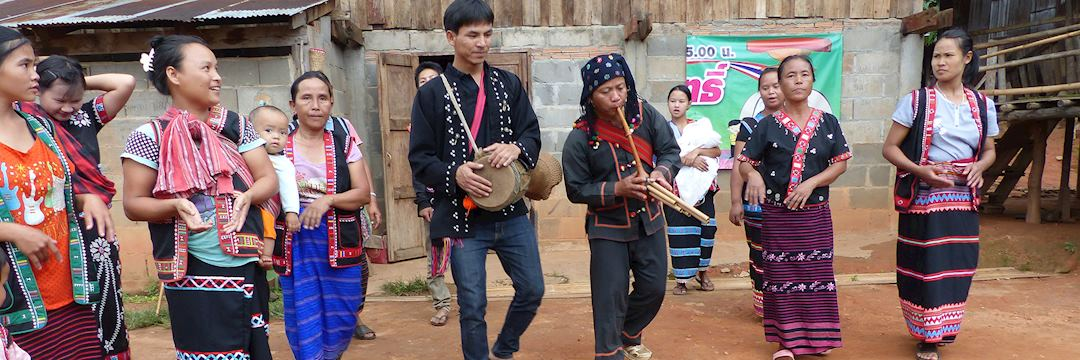 Lahu tribe dancing with musical instruments