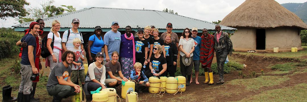 Ian with his family and fellow travellers in Kenya