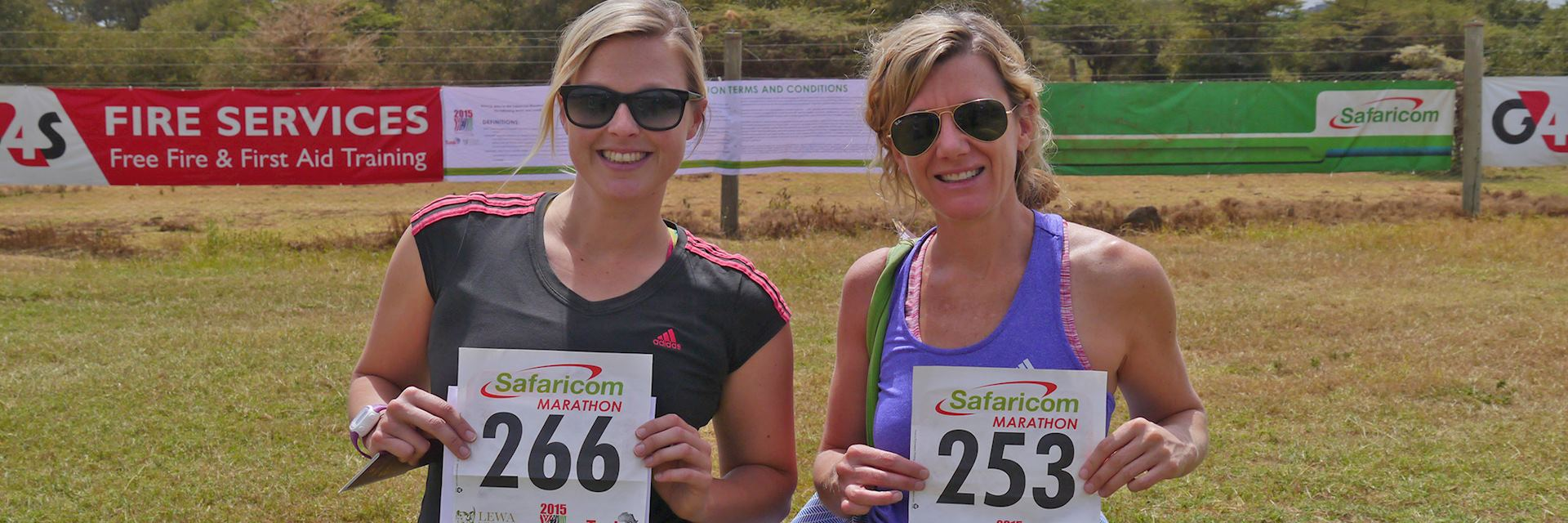 Alice and Katie ready to begin the Lewa Marathon
