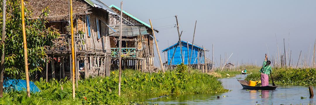 Visit Inle Lake with its floating vegetable patches and stilted homes