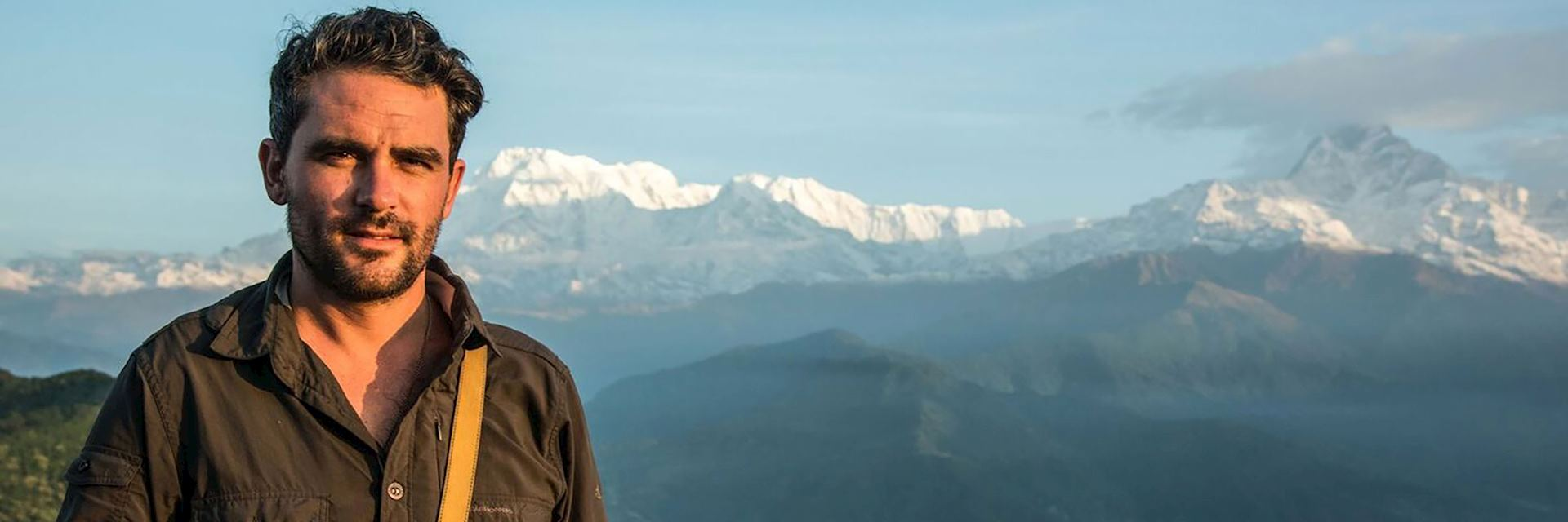 Levison Wood with a backdrop of the Himalaya