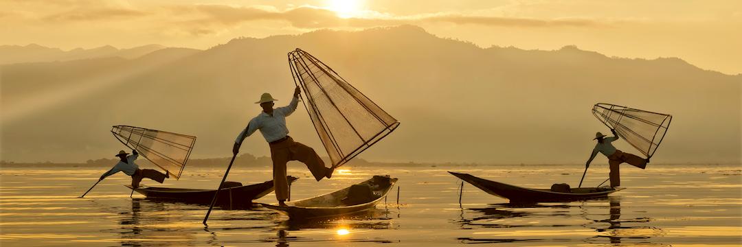 Intha fishermen at dawn, Myanmar