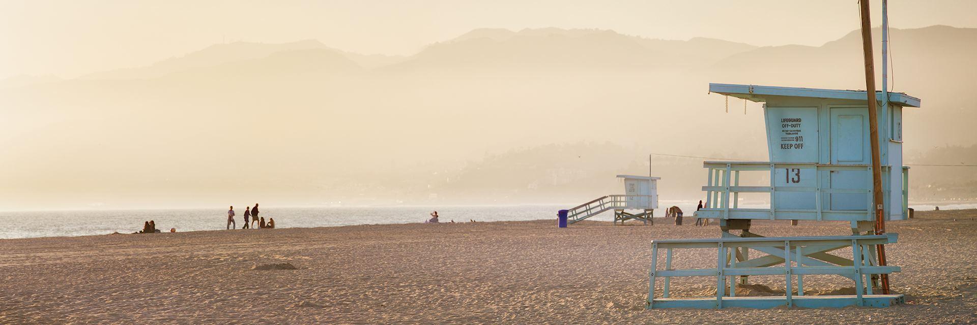 Lifeguard cabin at sunset on Santa Monica beach