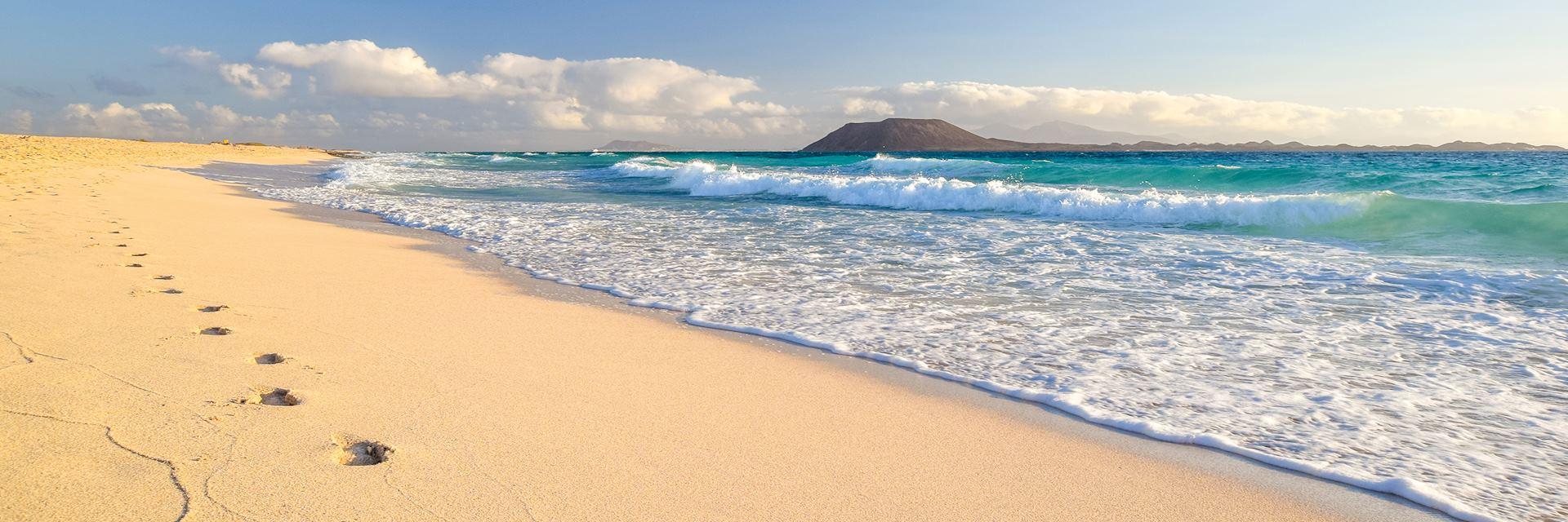 Footprints on beach in Canary Islands, Spain