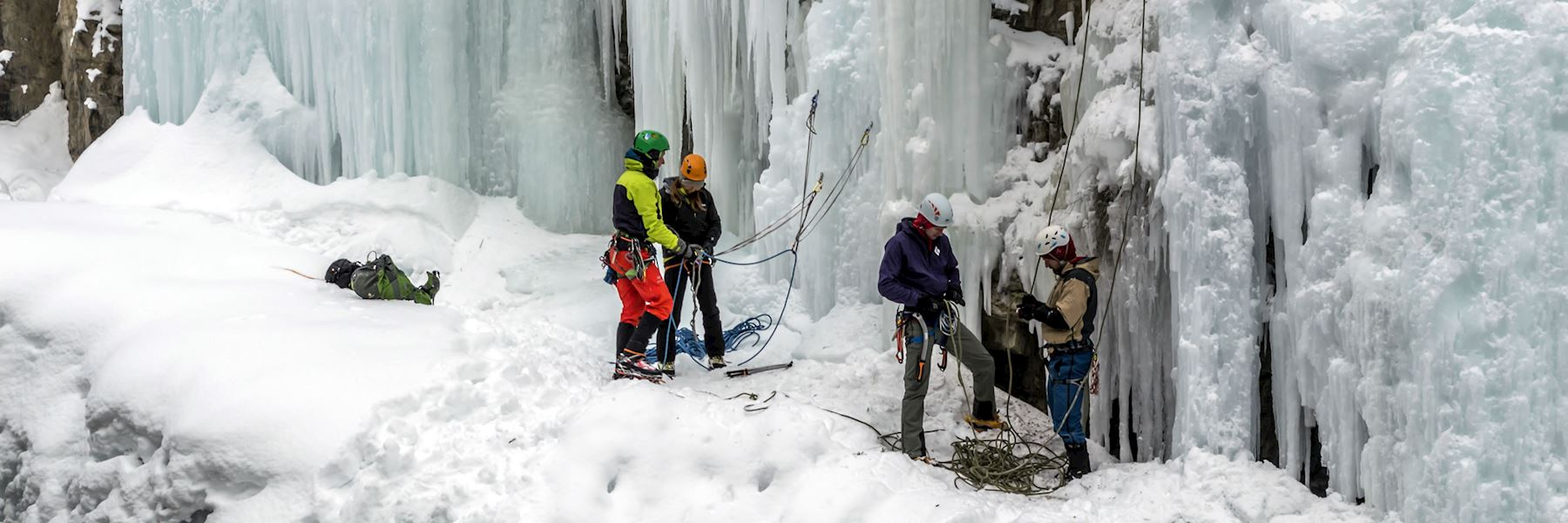 Frozen waterfall ice climbing experience