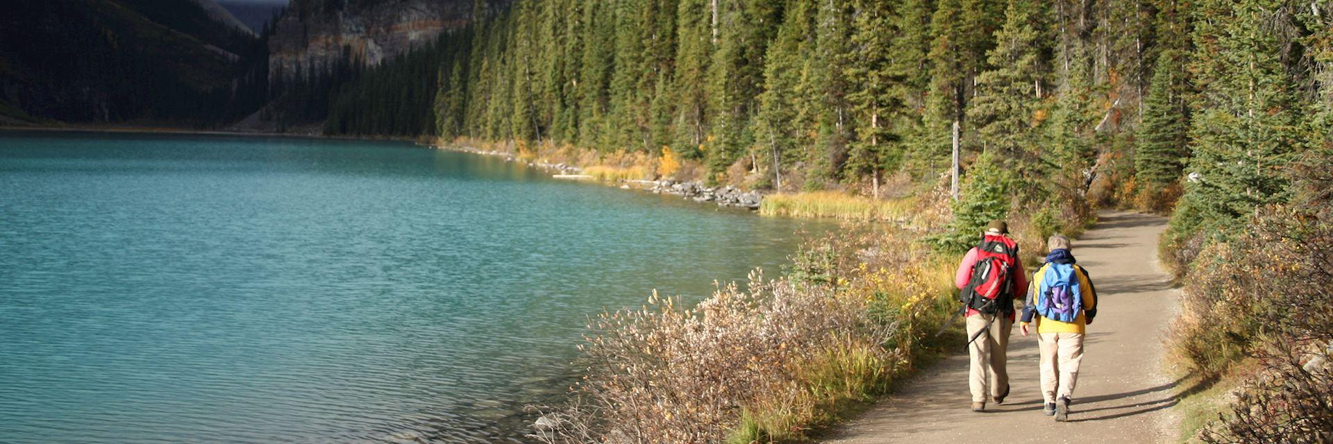 Hiking next to Lake Louise