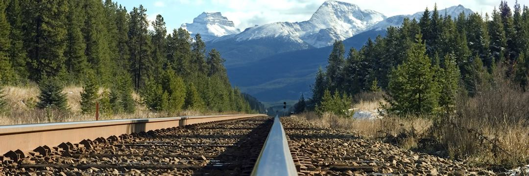 Train tracks carve their way through Canada's Rockies