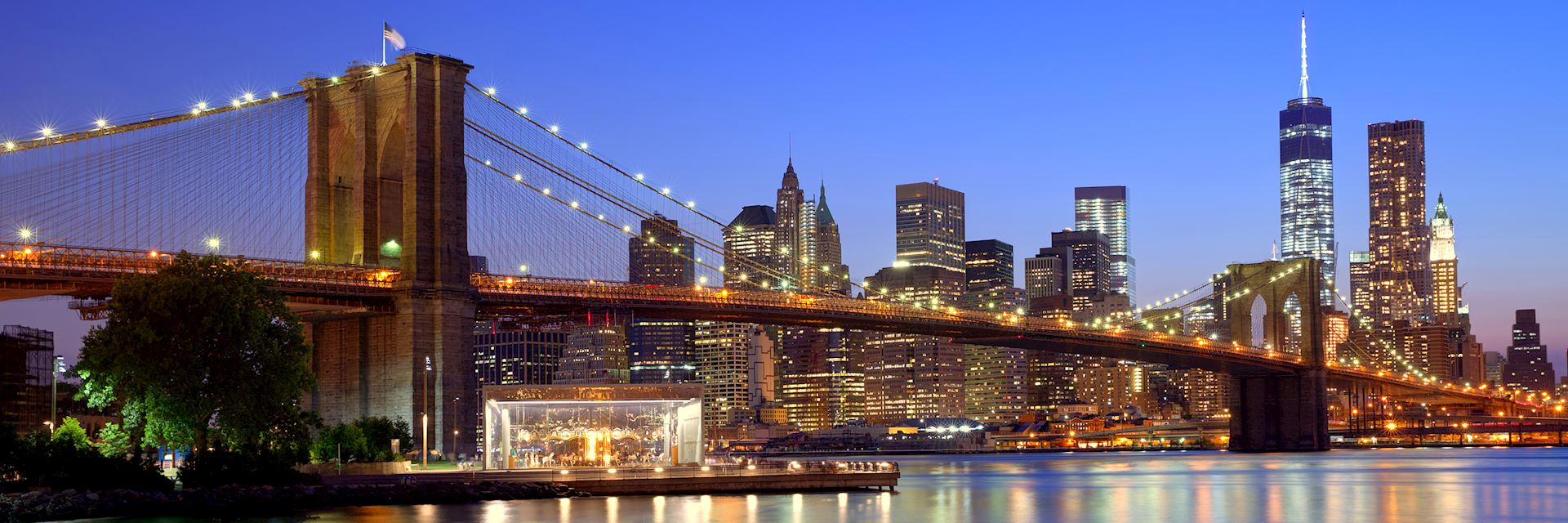 Brooklyn Bridge at sunset, New York