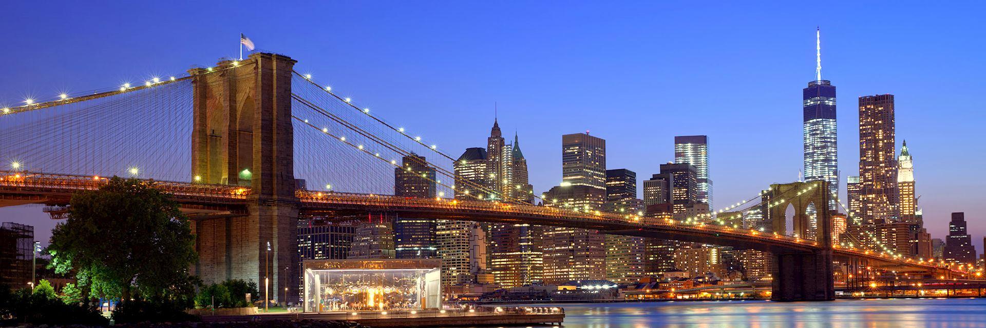 Brooklyn Bridge at sunset, New York