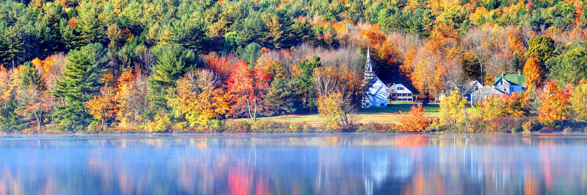 Autumn lake reflections in the White Mountains region, Vermont