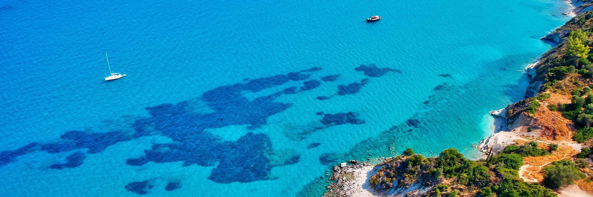 Aerial view of Bahamas coastline