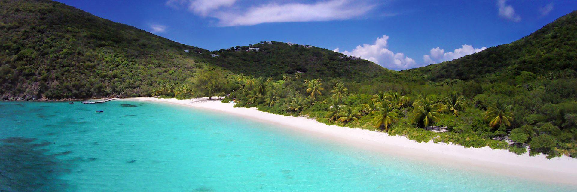 White sand beach on Guana Island