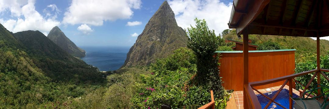 View of the Pitons, Saint Lucia