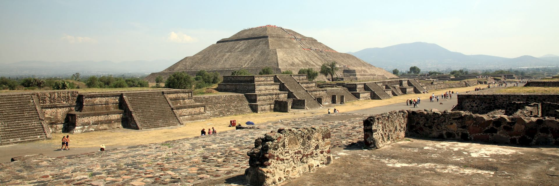 The huge Pyramid of the Sun at Teotihuacan