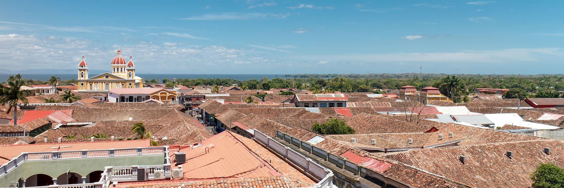 Granada Cathedral and rooftops, Nicaragua