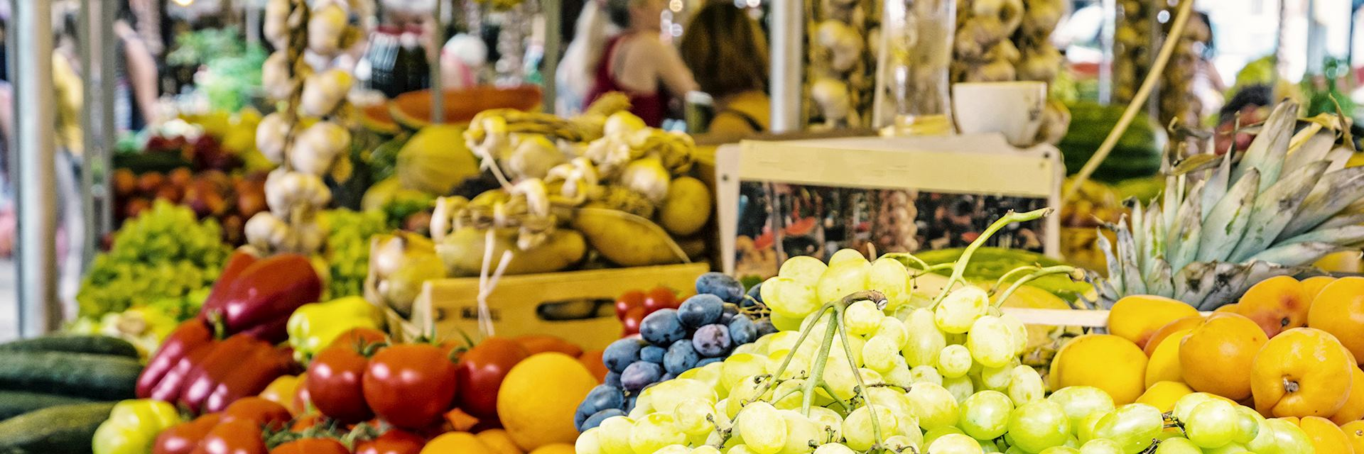 Fresh fruit in market hall, old town Trogir, Croatia