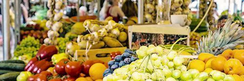 Fresh fruit in market hall, old town Trogir, Croatia