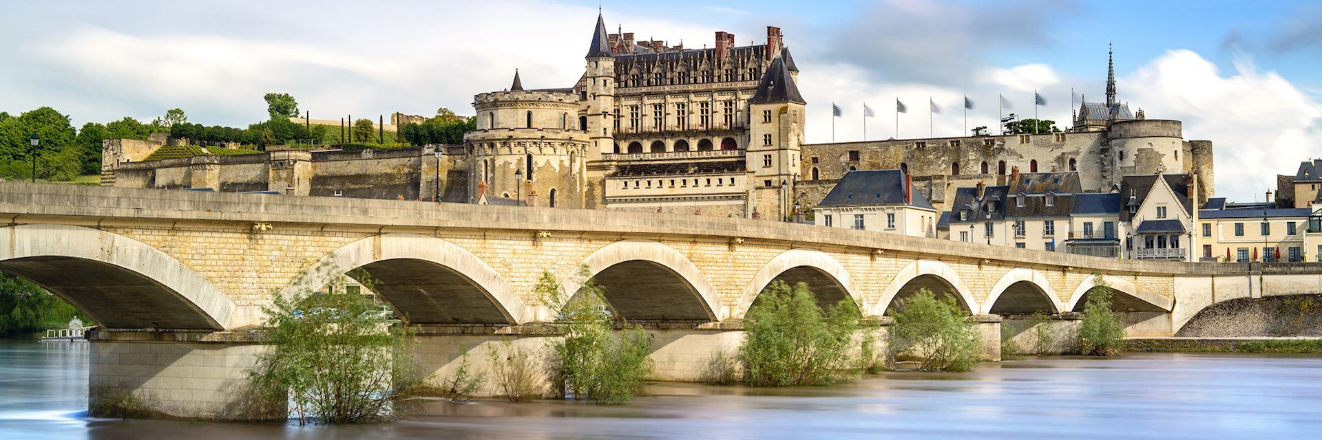 Amboise, village, bridge and medieval castle. Loire Valley, France