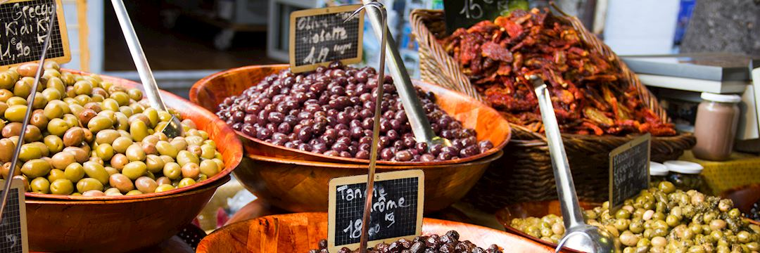 Olives for sale in a market, France
