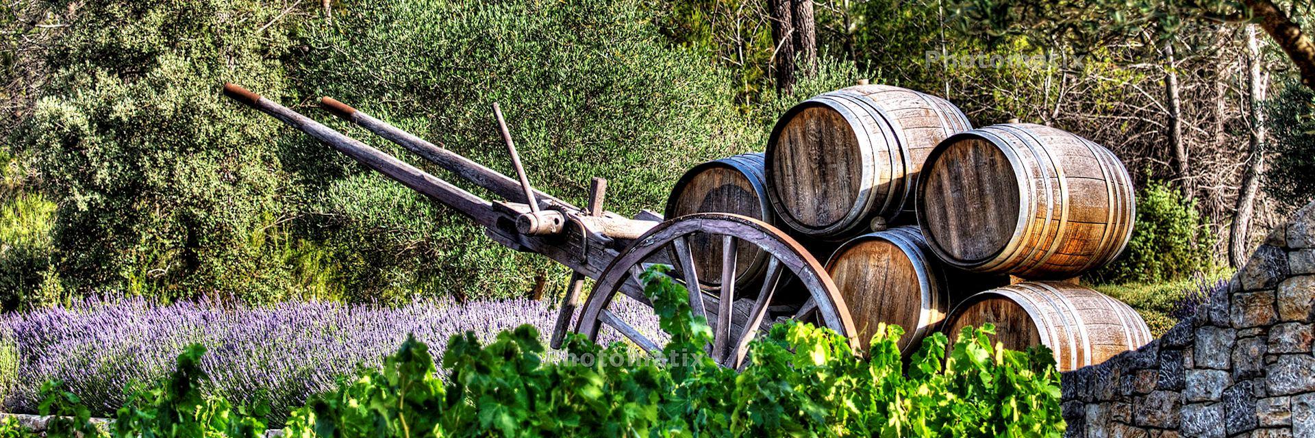 Barrels in a wine-growing property in France