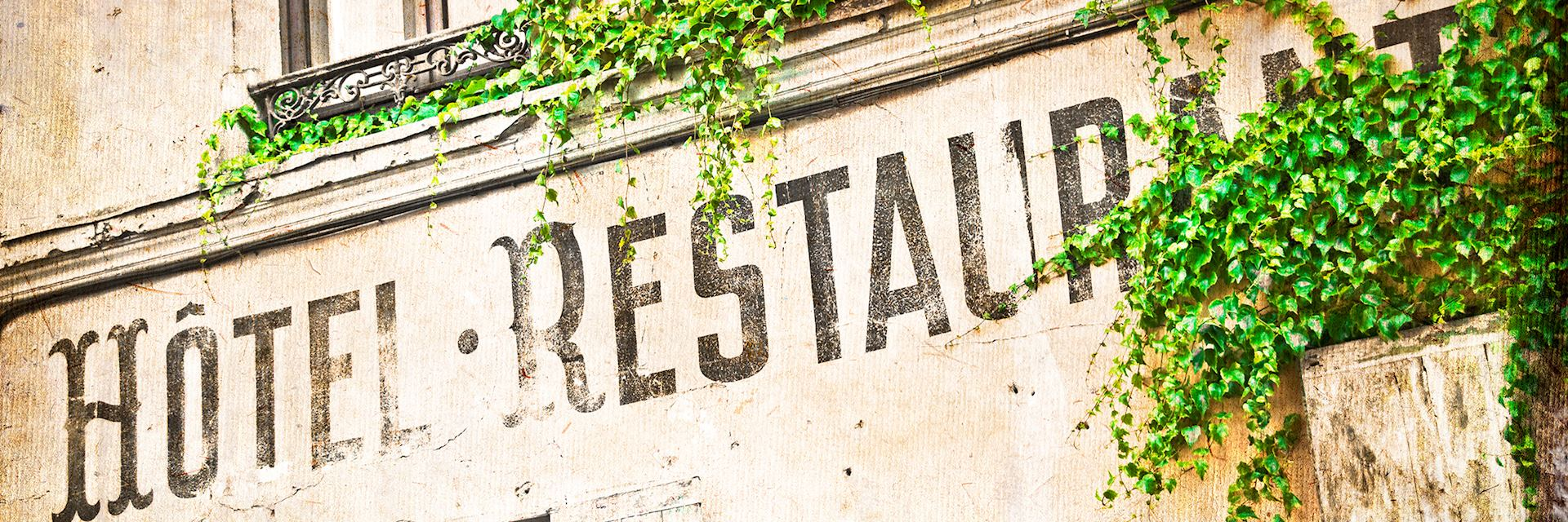 Vintage French hotel facade