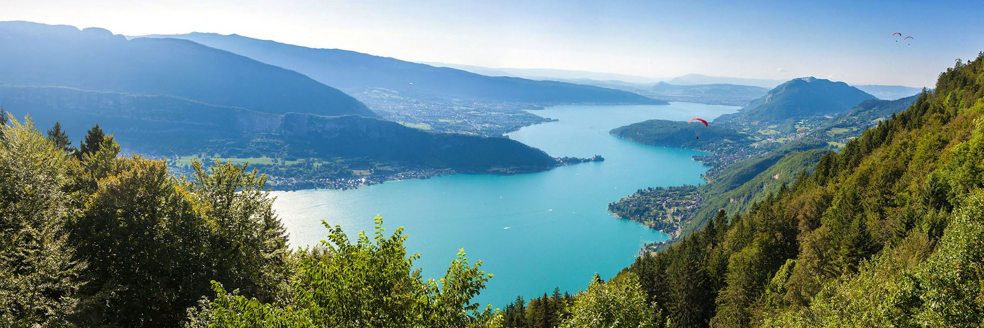 View of Annecy lake from Col du Forclaz