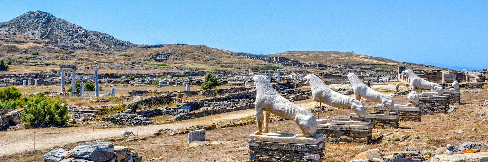 Terrace of the Lions, the famous symbol of Archaeological Site of Delos, Delos Island, Cyclades