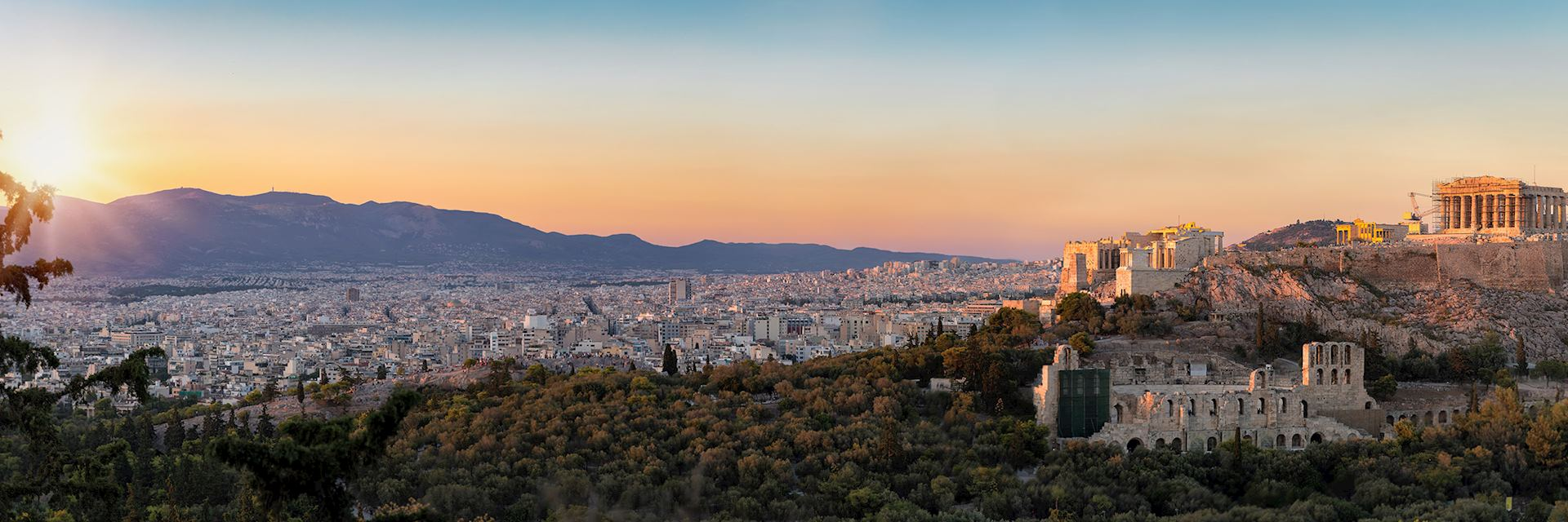 Panorama from the Parthenon and Acropolis to the skyline of Athens