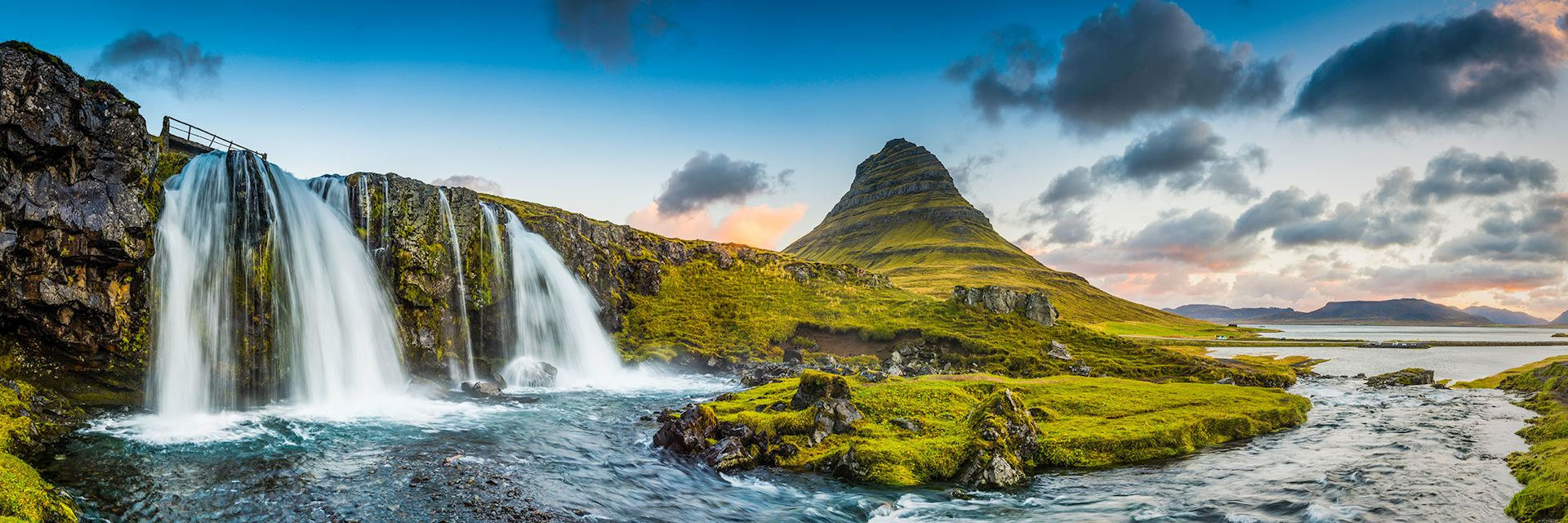 Mountain waterfalls, Kirkjufell