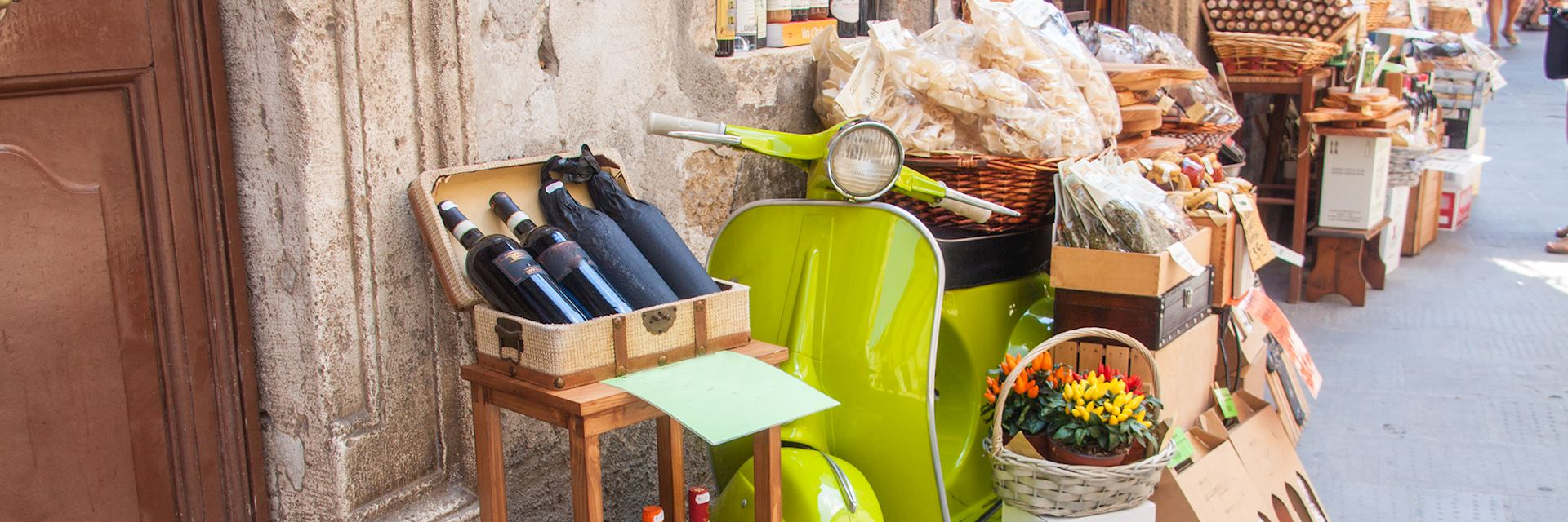 Scooter and local goods, Tuscany, Italy