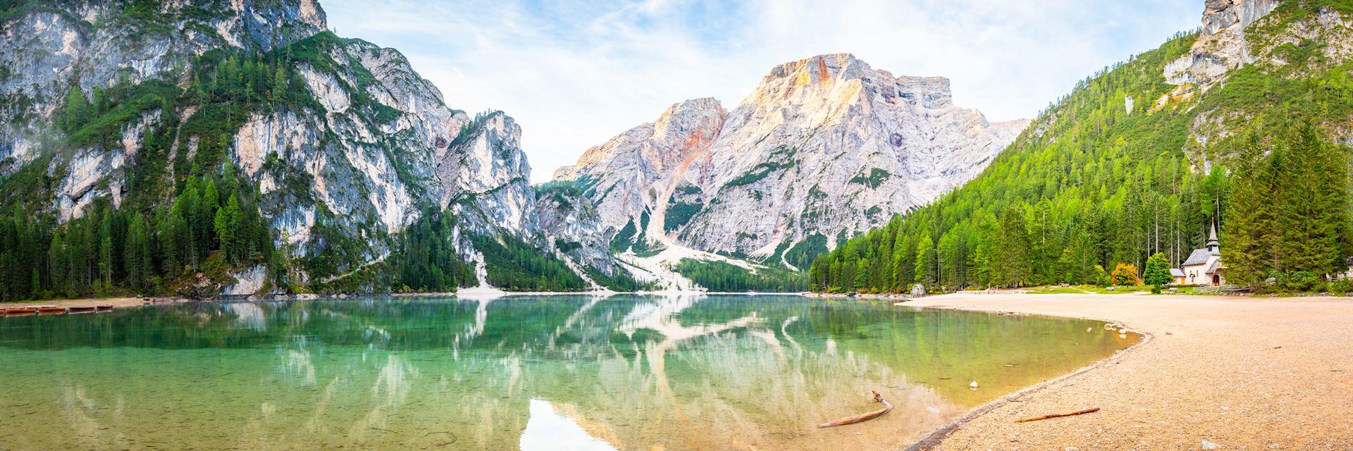 Lago di Braies lake in the Italian Dolomites