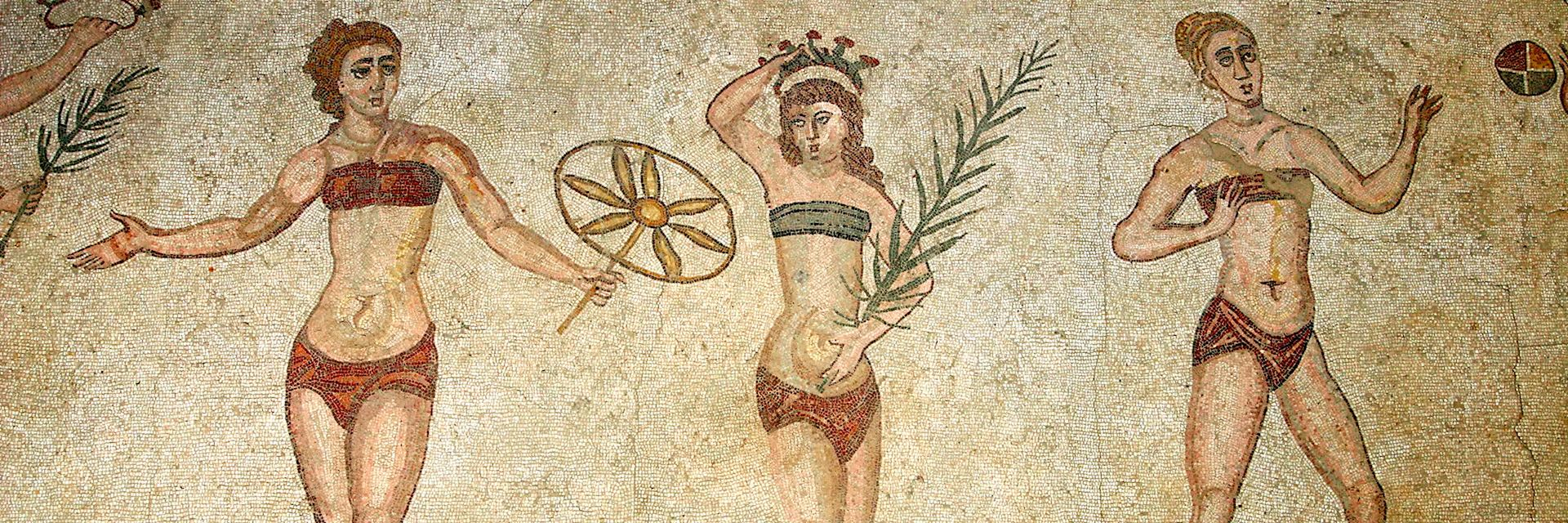 Roman mosaic of women in bikinis, Villa Romana Casale