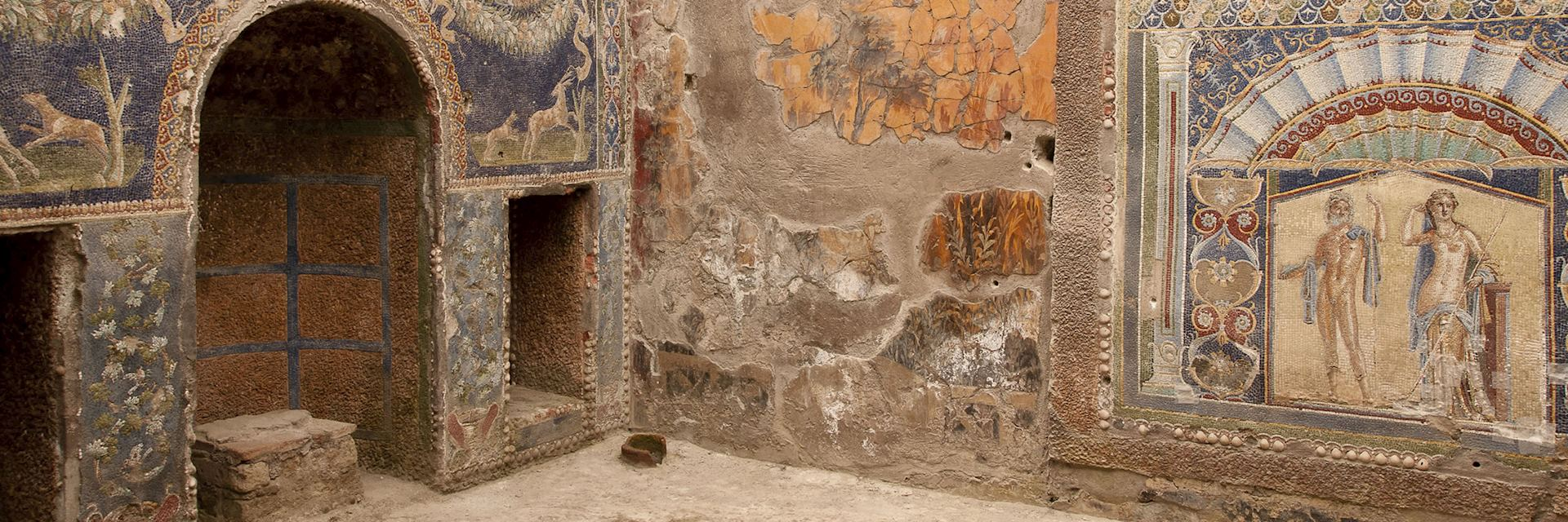 Richly decorated mosaics on the walls of a villa unerthed in Herculaneum