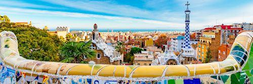 Park Guell mosaic bench terrace, Barcelona