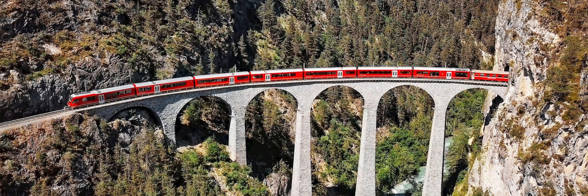 Glacier Express passing over the Landwasser Viaduct, Switzerland