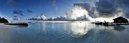 Maldives beach at sunset