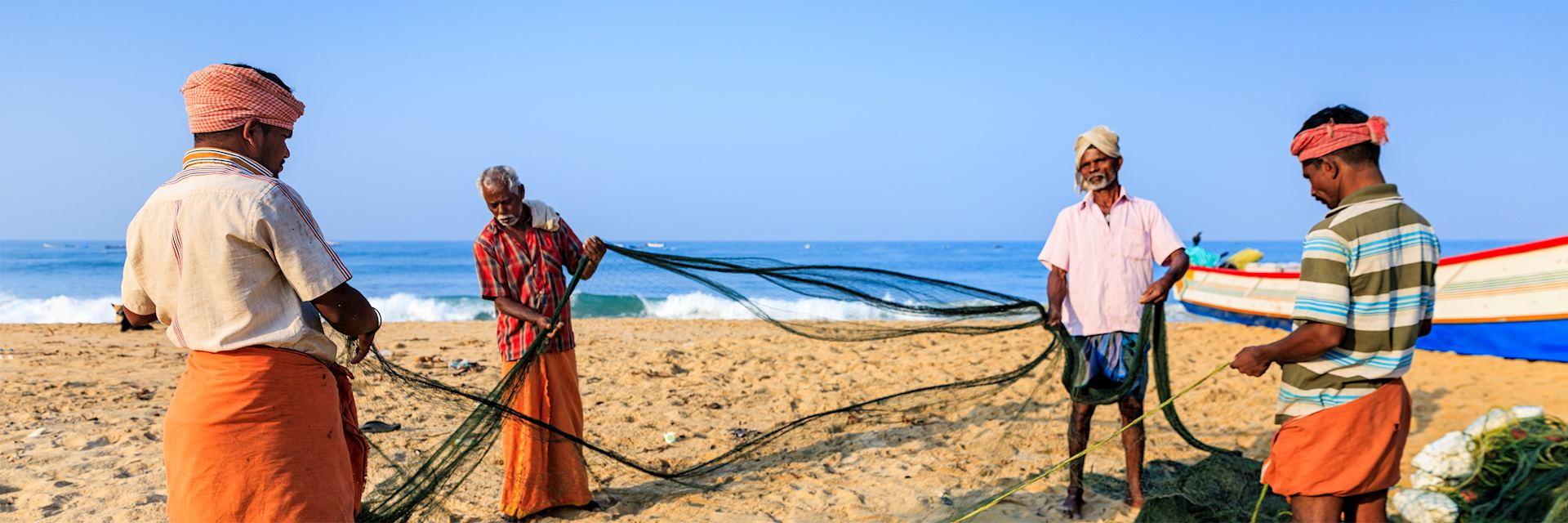 Fishermen on a Kerala beach