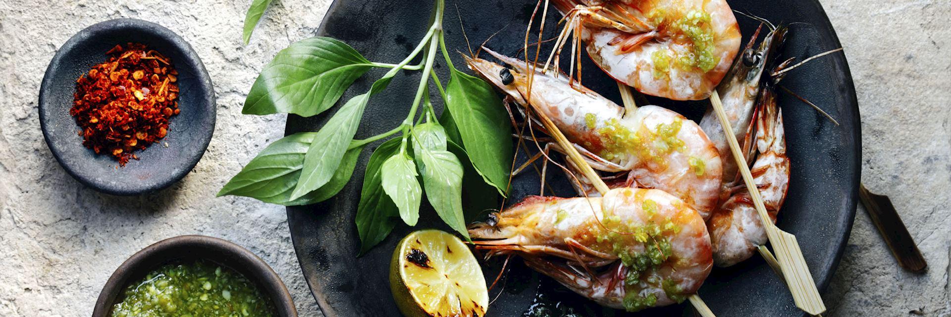 A dish of tiger prawns