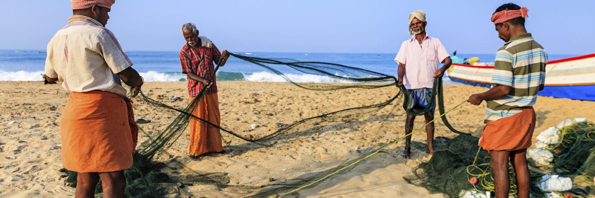 Fishermen on a Kerala beach